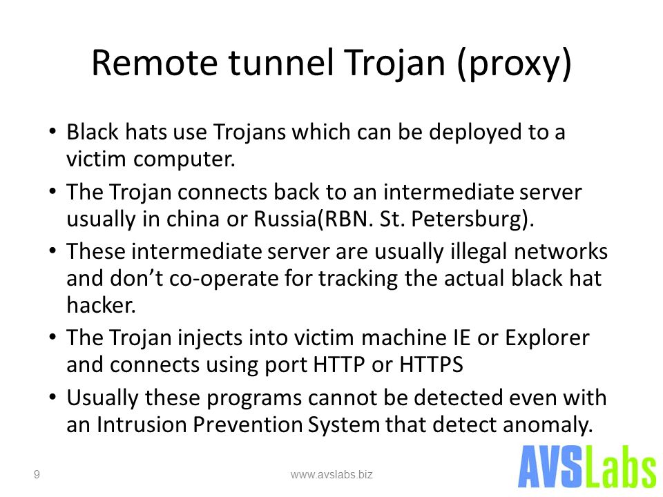 Remote tunnel Trojan (proxy) Black hats use Trojans which can be deployed to a victim computer.