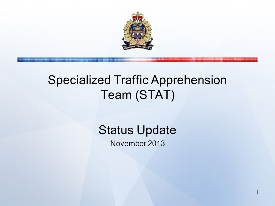 Specialized Traffic Apprehension Team (STAT) Status Update November 2013 1