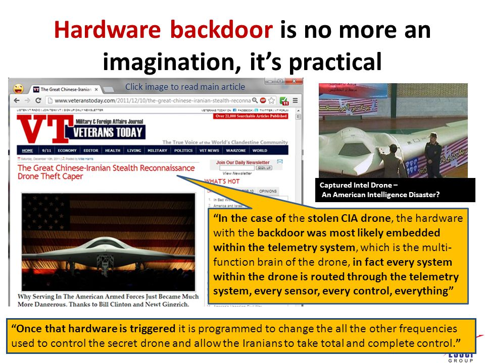 Hardware backdoor is no more an imagination, it's practical Captured Intel Drone – An American Intelligence Disaster.