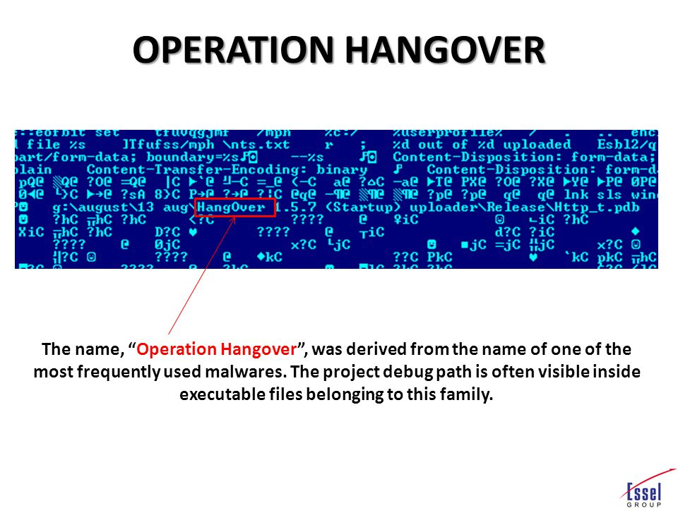 OPERATION HANGOVER The name, Operation Hangover , was derived from the name of one of the most frequently used malwares.