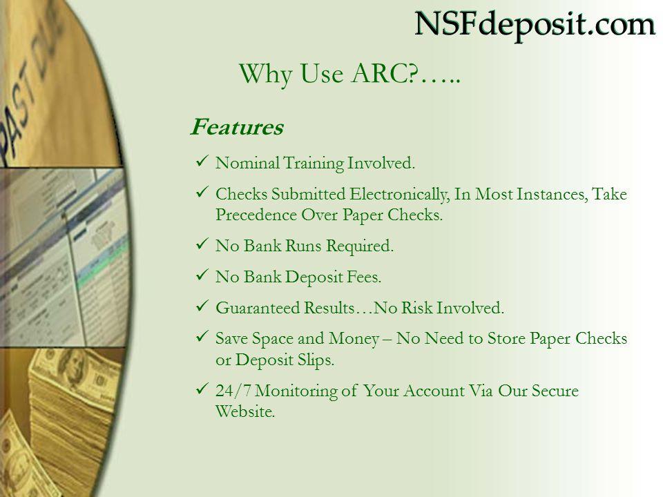 NSFdeposit.com Features Nominal Training Involved.