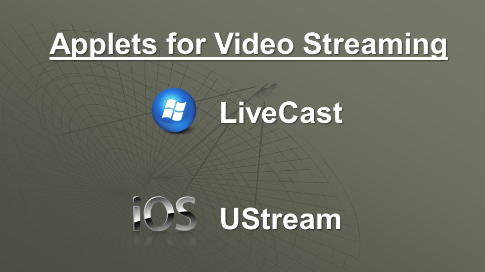 Applets for Video Streaming LiveCastUStream