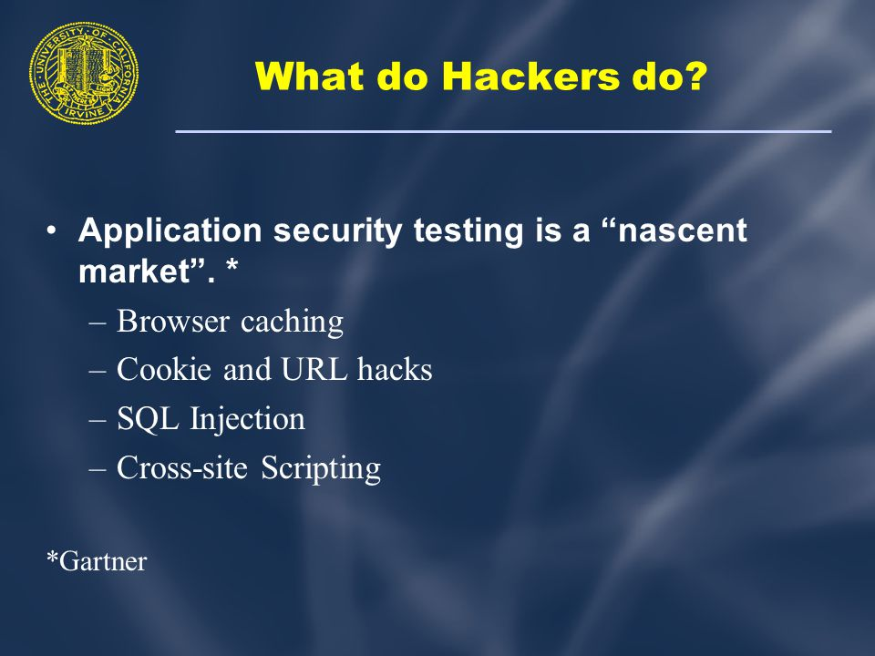 What do Hackers do. Application security testing is a nascent market .