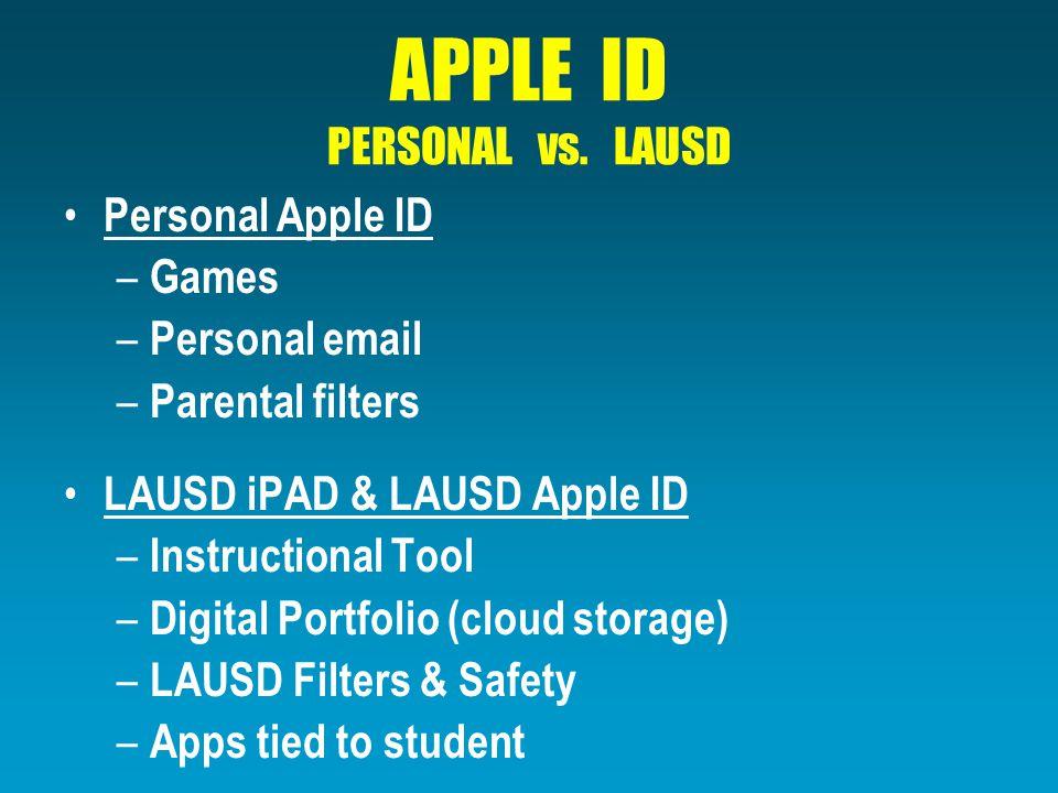 APPLE ID PERSONAL vs.