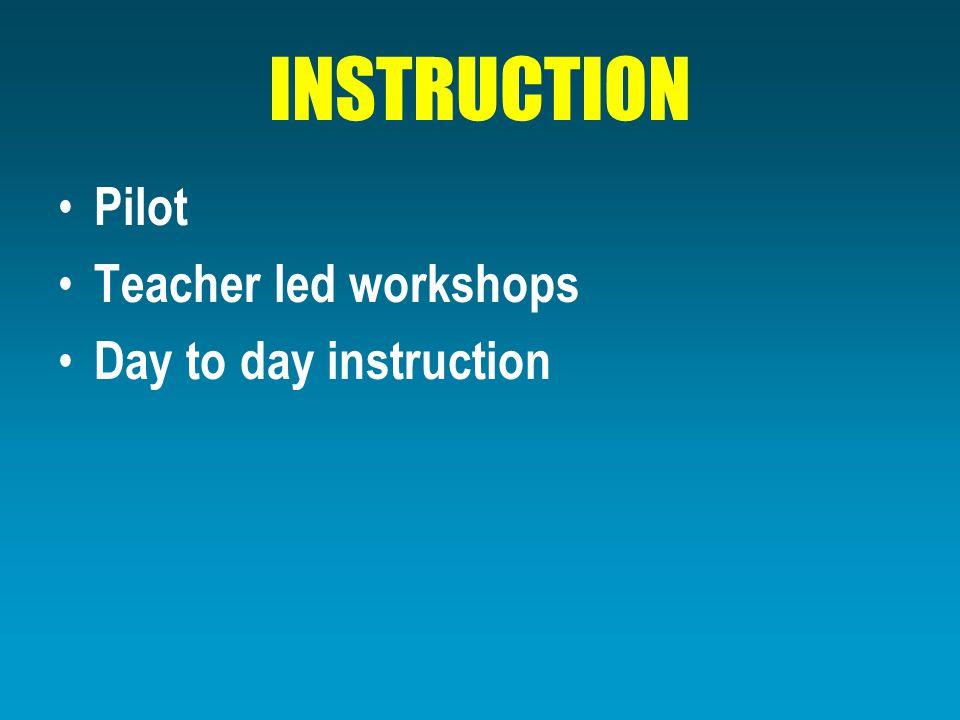 INSTRUCTION Pilot Teacher led workshops Day to day instruction