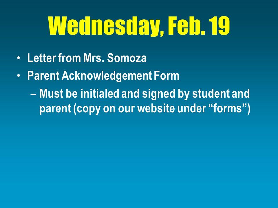 Wednesday, Feb. 19 Letter from Mrs.