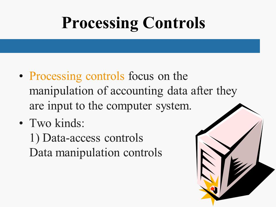 Processing Controls Processing controls focus on the manipulation of accounting data after they are input to the computer system.