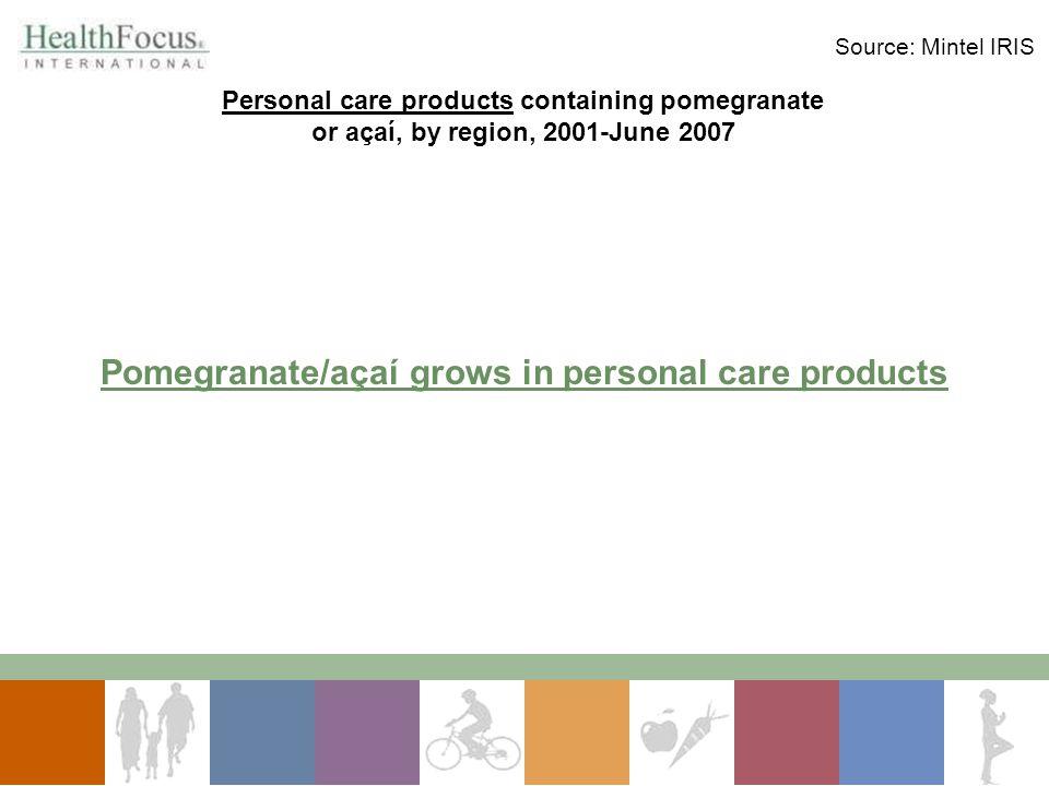 Pomegranate/açaí grows in personal care products Personal care products containing pomegranate or açaí, by region, 2001-June 2007 Source: Mintel IRIS