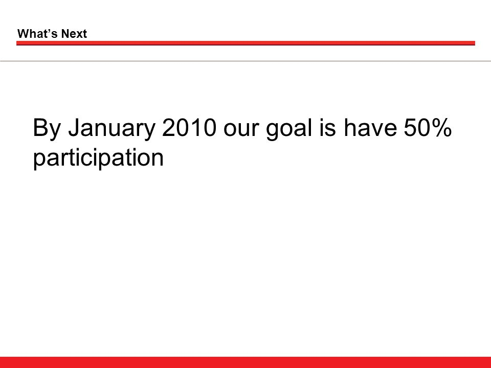 What's Next By January 2010 our goal is have 50% participation
