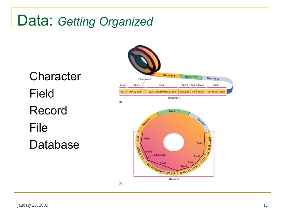 January 23, 200310 Data (From Chapter 6): Organizing and Accessing Design (plan) for way data is  Received  Organized  Stored  how it will be proc