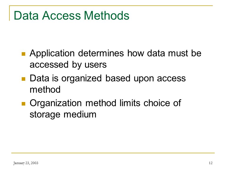 January 23, 200311 Data: Getting Organized Character Field Record File Database