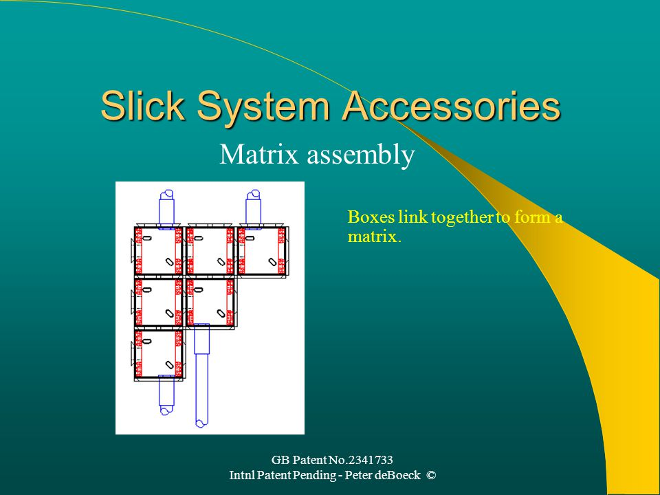 GB Patent No.2341733 Intnl Patent Pending - Peter deBoeck © Slick System Accessories Matrix assembly Boxes link together to form a matrix.