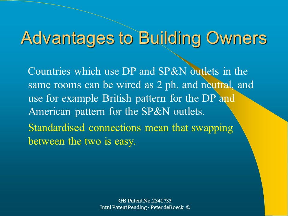 GB Patent No.2341733 Intnl Patent Pending - Peter deBoeck © Advantages to Building Owners Countries which use DP and SP&N outlets in the same rooms can be wired as 2 ph.