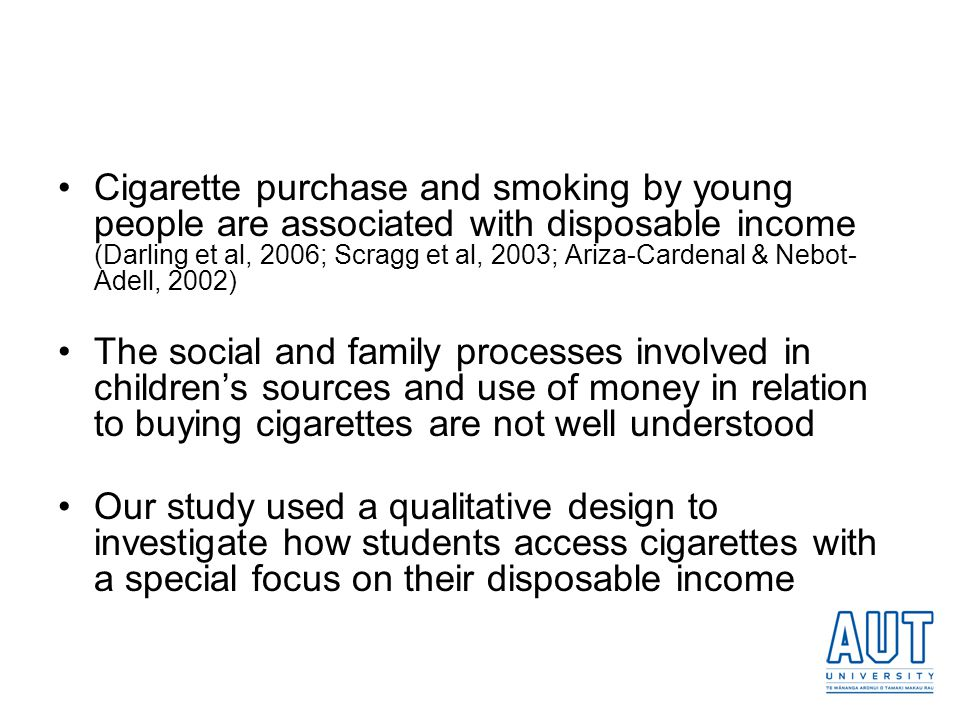 Cigarette purchase and smoking by young people are associated with disposable income (Darling et al, 2006; Scragg et al, 2003; Ariza-Cardenal & Nebot-