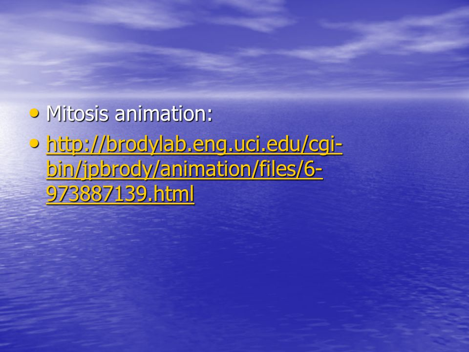Mitosis animation: Mitosis animation: http://brodylab.eng.uci.edu/cgi- bin/jpbrody/animation/files/6- 973887139.html http://brodylab.eng.uci.edu/cgi- bin/jpbrody/animation/files/6- 973887139.html http://brodylab.eng.uci.edu/cgi- bin/jpbrody/animation/files/6- 973887139.html http://brodylab.eng.uci.edu/cgi- bin/jpbrody/animation/files/6- 973887139.html