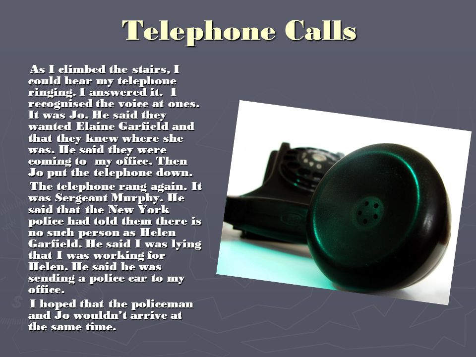 I Find Elaine Garfield The telephone rang again.It was Helen Garfield.