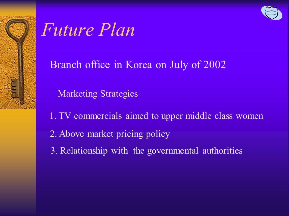 Future Plan Branch office in Korea on July of 2002 1.