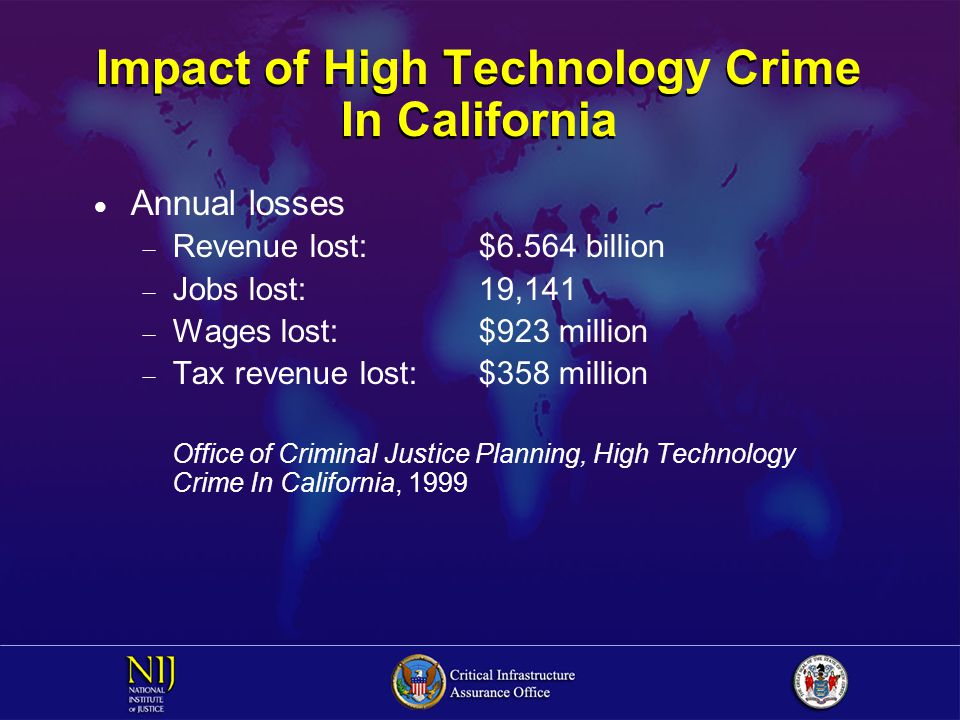 Impact of High Technology Crime In California  Annual losses  Revenue lost:$6.564 billion  Jobs lost:19,141  Wages lost:$923 million  Tax revenue lost:$358 million Office of Criminal Justice Planning, High Technology Crime In California, 1999