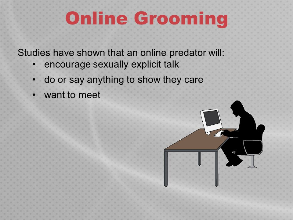 Online Grooming Studies have shown that an online predator will: encourage sexually explicit talk do or say anything to show they care want to meet