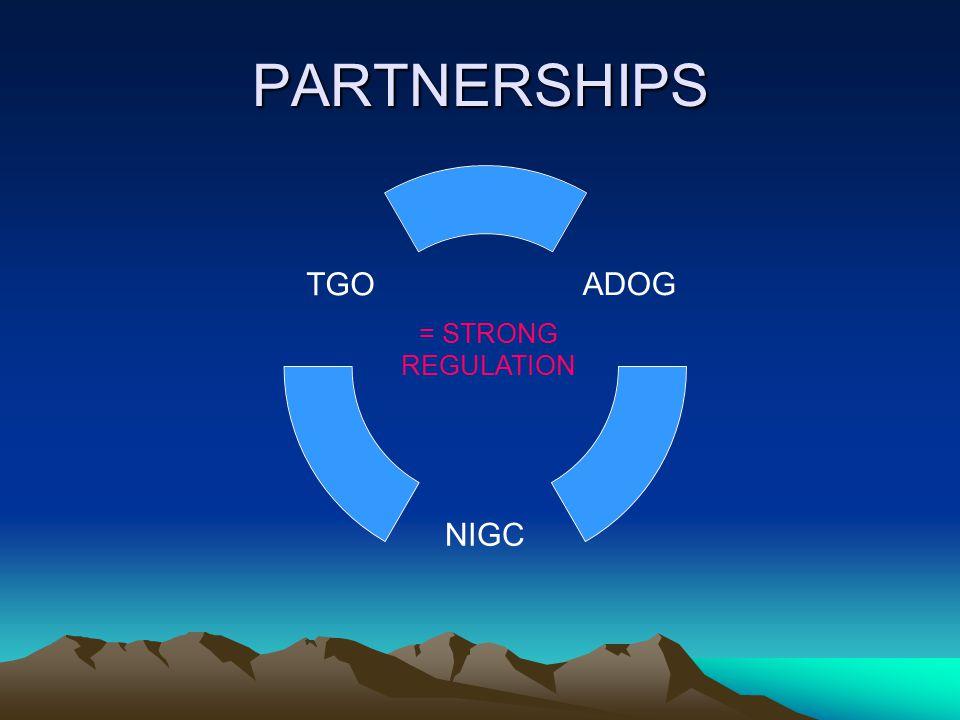 PARTNERSHIPS ADOG NIGC TGO = STRONG REGULATION