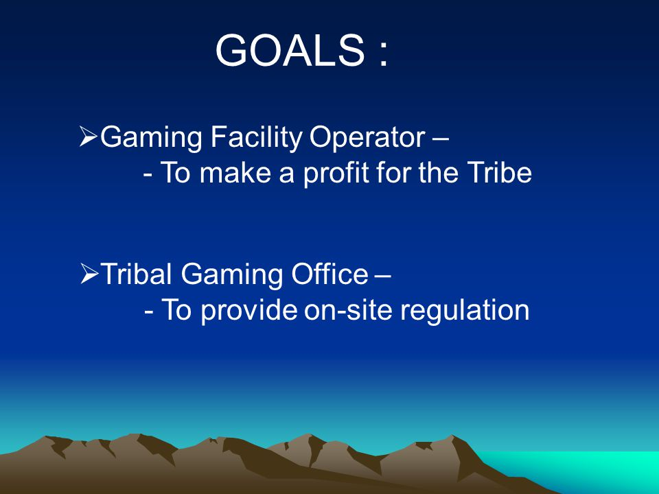 GOALS :  Gaming Facility Operator – - To make a profit for the Tribe  Tribal Gaming Office – - To provide on-site regulation