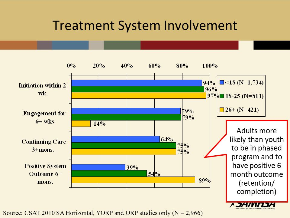 Treatment System Involvement Source: CSAT 2010 SA Horizontal, YORP and ORP studies only (N = 2,966) Adults more likely than youth to be in phased program and to have positive 6 month outcome (retention/ completion)