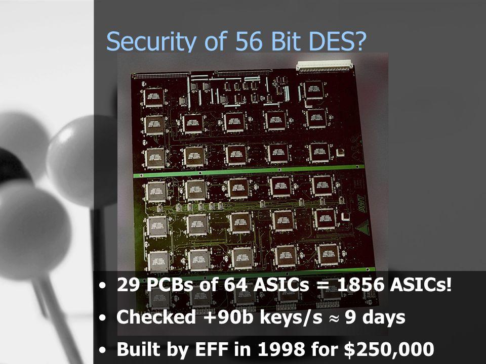 Security of 56 Bit DES. 29 PCBs of 64 ASICs = 1856 ASICs.