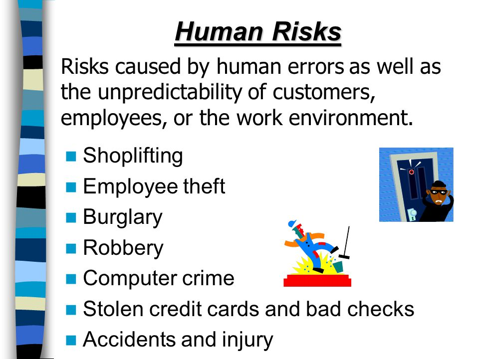 Human Risks Risks caused by human errors as well as the unpredictability of customers, employees, or the work environment. Shoplifting Employee theft
