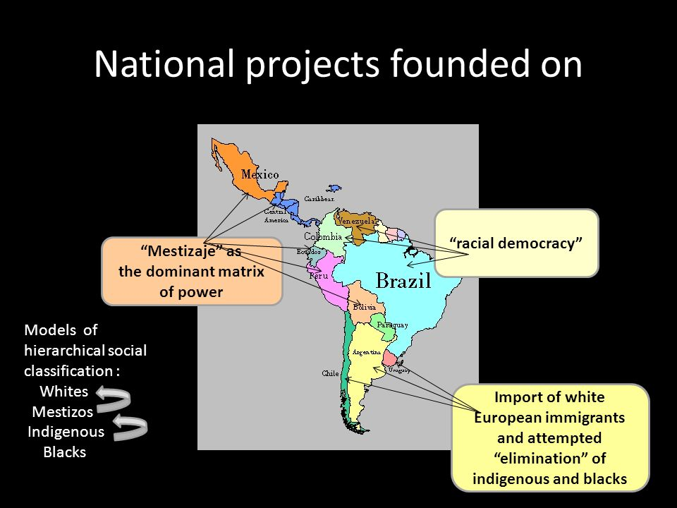 National projects founded on Import of white European immigrants and attempted elimination of indigenous and blacks racial democracy Mestizaje as the dominant matrix of power Models of hierarchical social classification : Whites Mestizos Indigenous Blacks