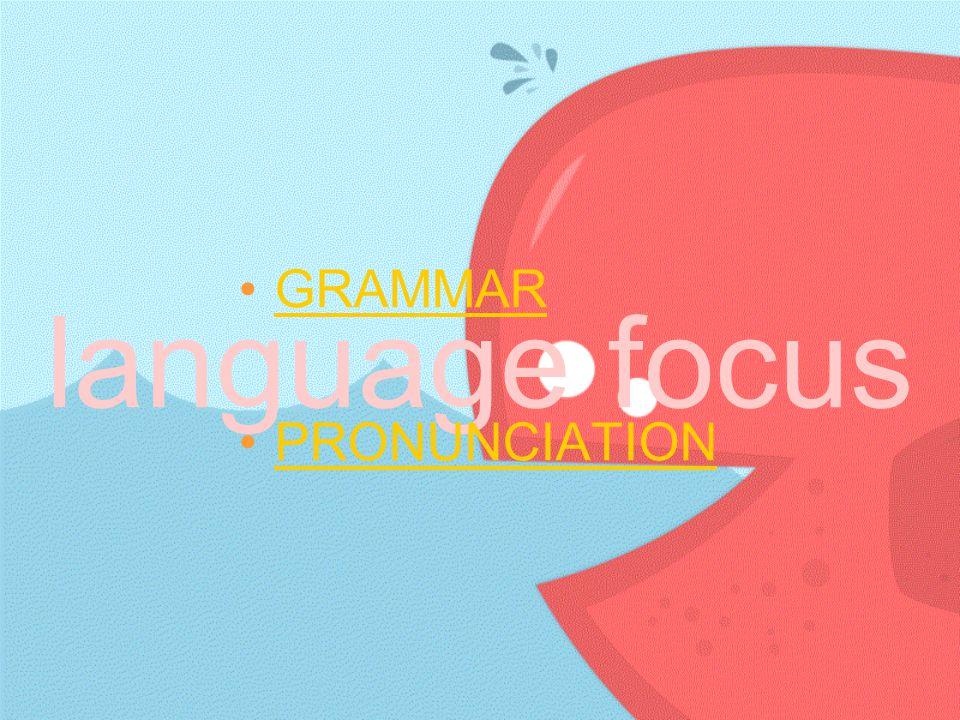 language focus GRAMMAR PRONUNCIATION