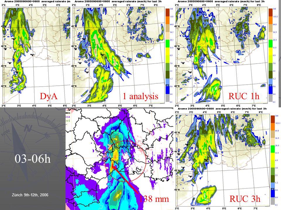 Zürich 9th-12th, 2006EWGLAM/SRNWP meetings DyARUC 1h RUC 3h138 mm 03-06h 1 analysis
