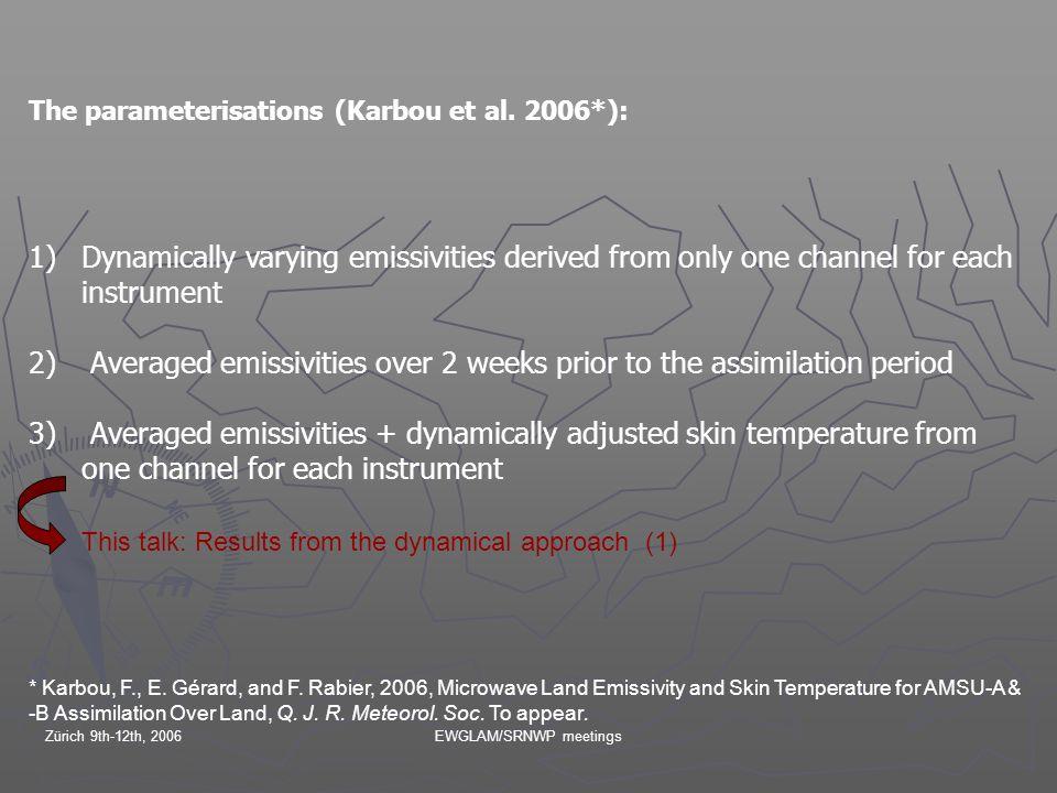 Zürich 9th-12th, 2006EWGLAM/SRNWP meetings The parameterisations (Karbou et al.