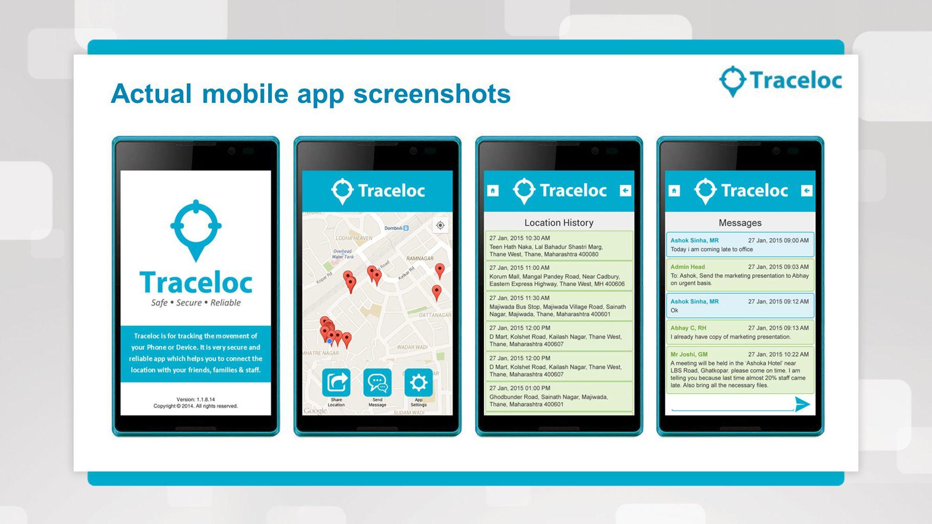 Actual mobile app screenshots