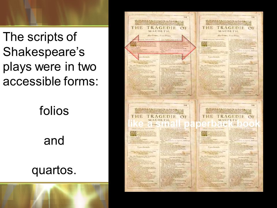The scripts of Shakespeare's plays were in two accessible forms: folios and quartos.