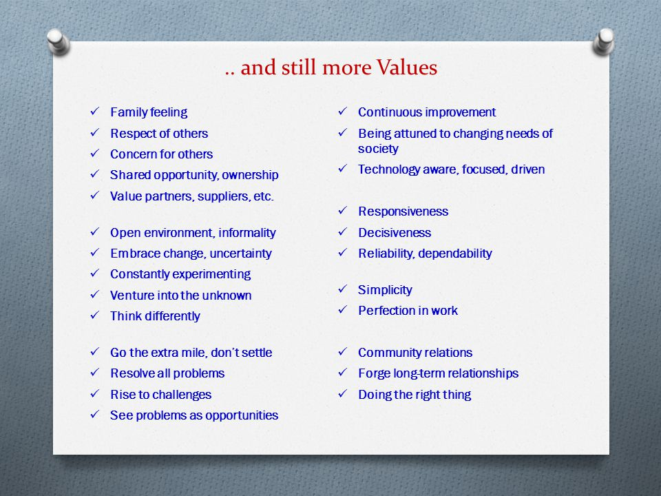 .. and still more Values Family feeling Respect of others Concern for others Shared opportunity, ownership Value partners, suppliers, etc. Open enviro