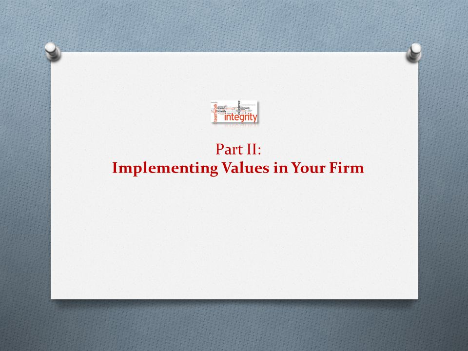 Part II: Implementing Values in Your Firm