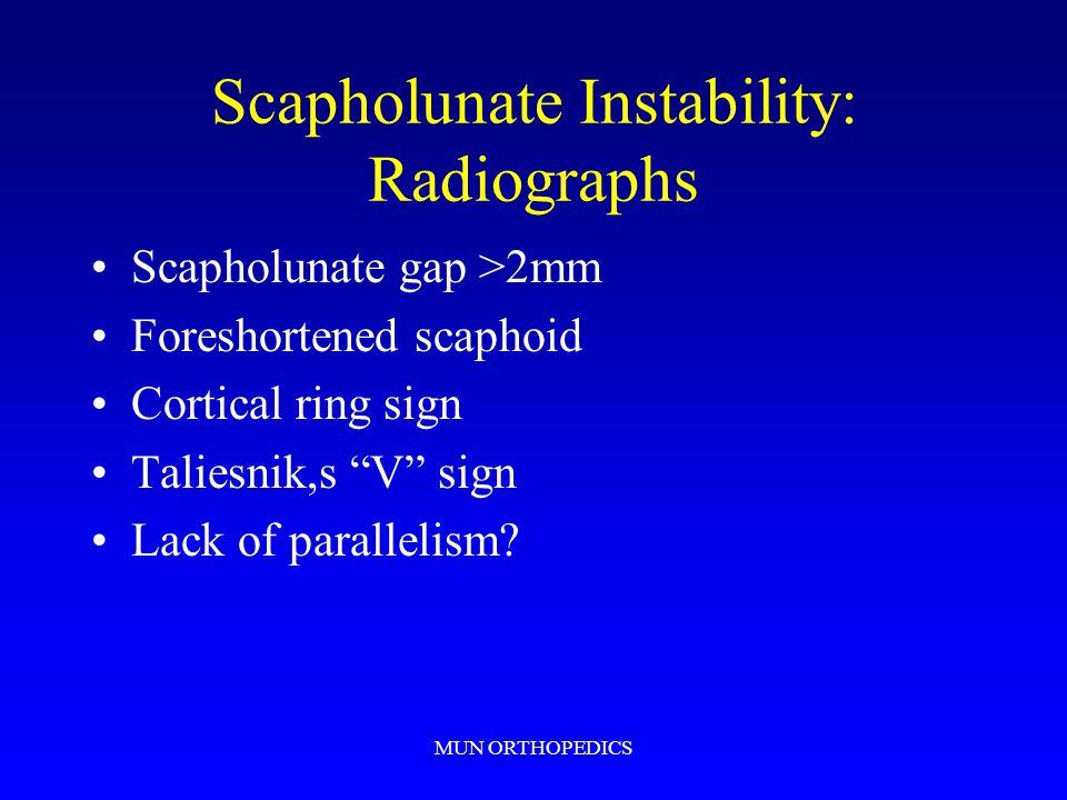 MUN ORTHOPEDICS Scapholunate Instability: Radiographs Scapholunate gap >2mm Foreshortened scaphoid Cortical ring sign Taliesnik,s V sign Lack of parallelism?
