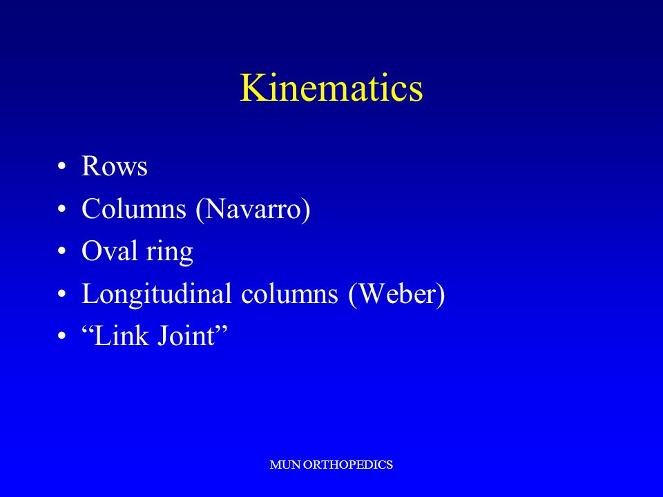 "MUN ORTHOPEDICS Kinematics Rows Columns (Navarro) Oval ring Longitudinal columns (Weber) ""Link Joint"""