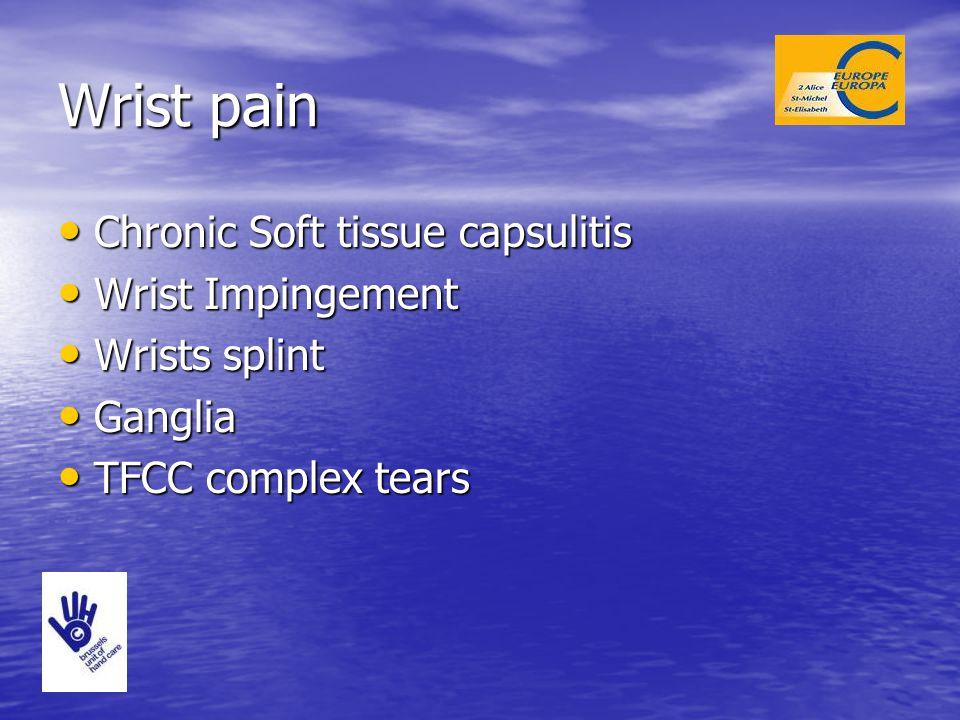 Wrist pain Chronic Soft tissue capsulitis Chronic Soft tissue capsulitis Wrist Impingement Wrist Impingement Wrists splint Wrists splint Ganglia Gangl