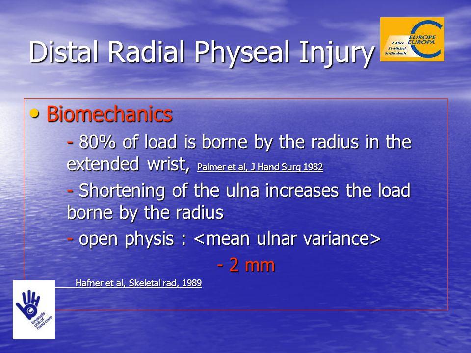 Distal Radial Physeal Injury Biomechanics Biomechanics - 80% of load is borne by the radius in the extended wrist, Palmer et al, J Hand Surg 1982 - Sh