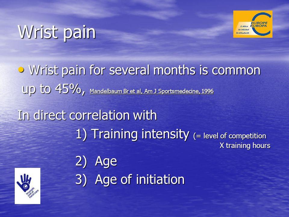 Wrist pain Wrist pain for several months is common Wrist pain for several months is common up to 45%, Mandelbaum Br et al, Am J Sportsmedecine, 1996 u