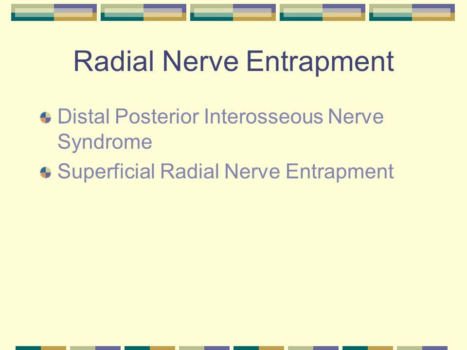 Radial Nerve Entrapment Distal Posterior Interosseous Nerve Syndrome Superficial Radial Nerve Entrapment