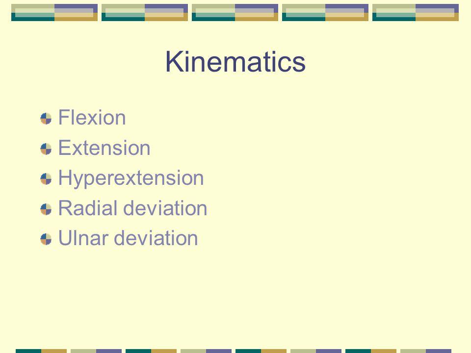 Kinematics Flexion Extension Hyperextension Radial deviation Ulnar deviation