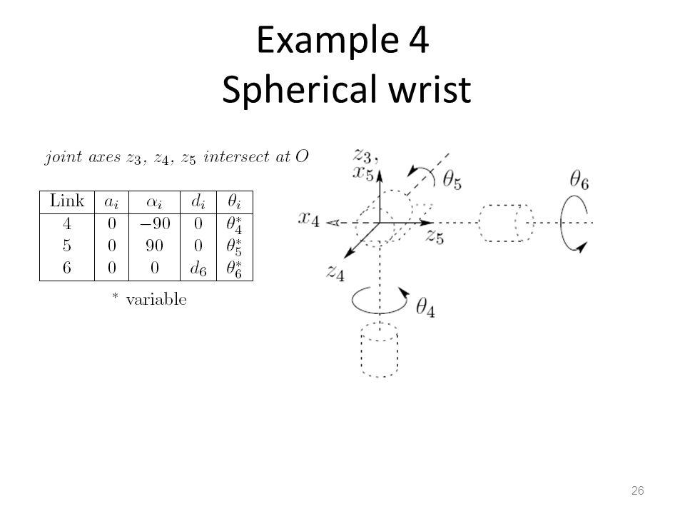 Example 4 Spherical wrist 26