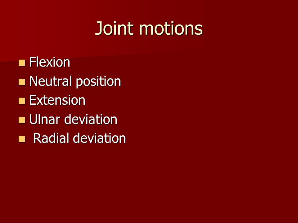 Joint motions Flexion Flexion Neutral position Neutral position Extension Extension Ulnar deviation Ulnar deviation Radial deviation Radial deviation