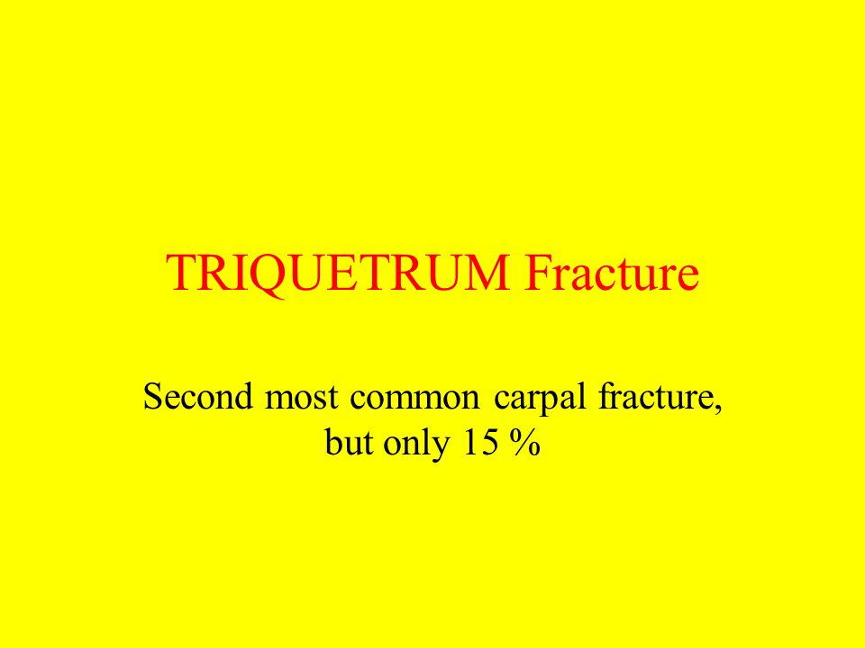 TRIQUETRUM Fracture Second most common carpal fracture, but only 15 %