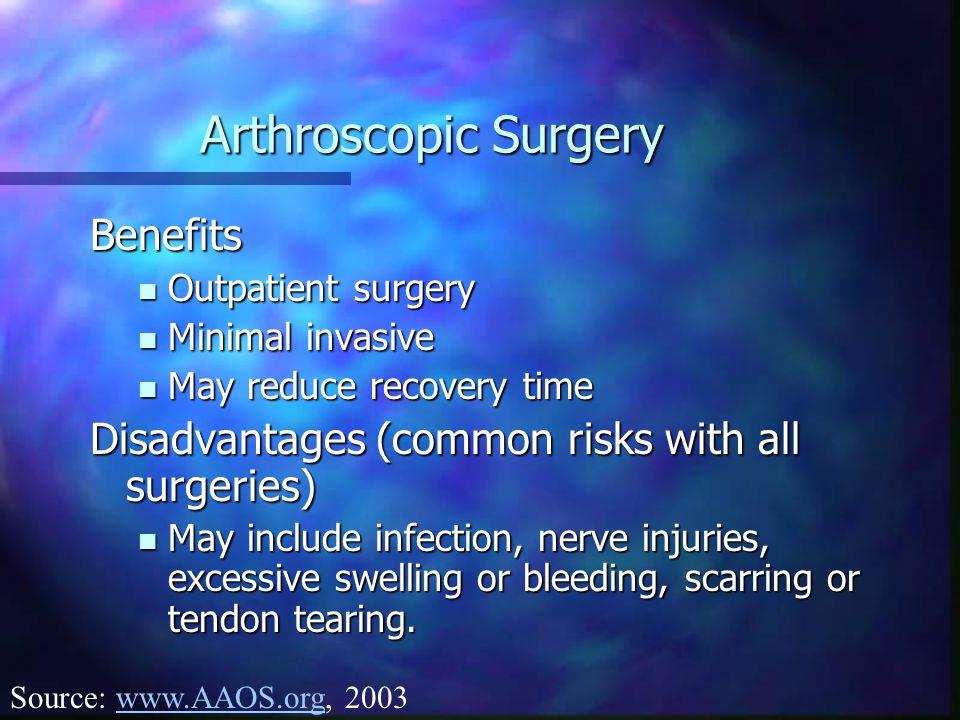 Arthroscopic Surgery Benefits Outpatient surgery Outpatient surgery Minimal invasive Minimal invasive May reduce recovery time May reduce recovery tim