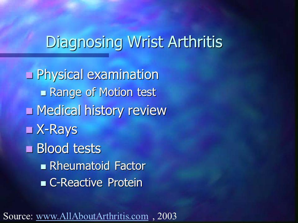 Diagnosing Wrist Arthritis Physical examination Physical examination Range of Motion test Range of Motion test Medical history review Medical history