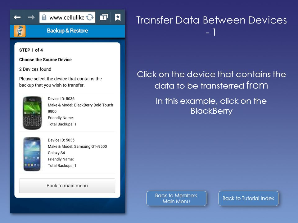 Back to Tutorial Index Transfer Data Between Devices - 1 Click on the device that contains the data to be transferred from In this example, click on the BlackBerry Back to Members Main Menu Back to Members Main Menu