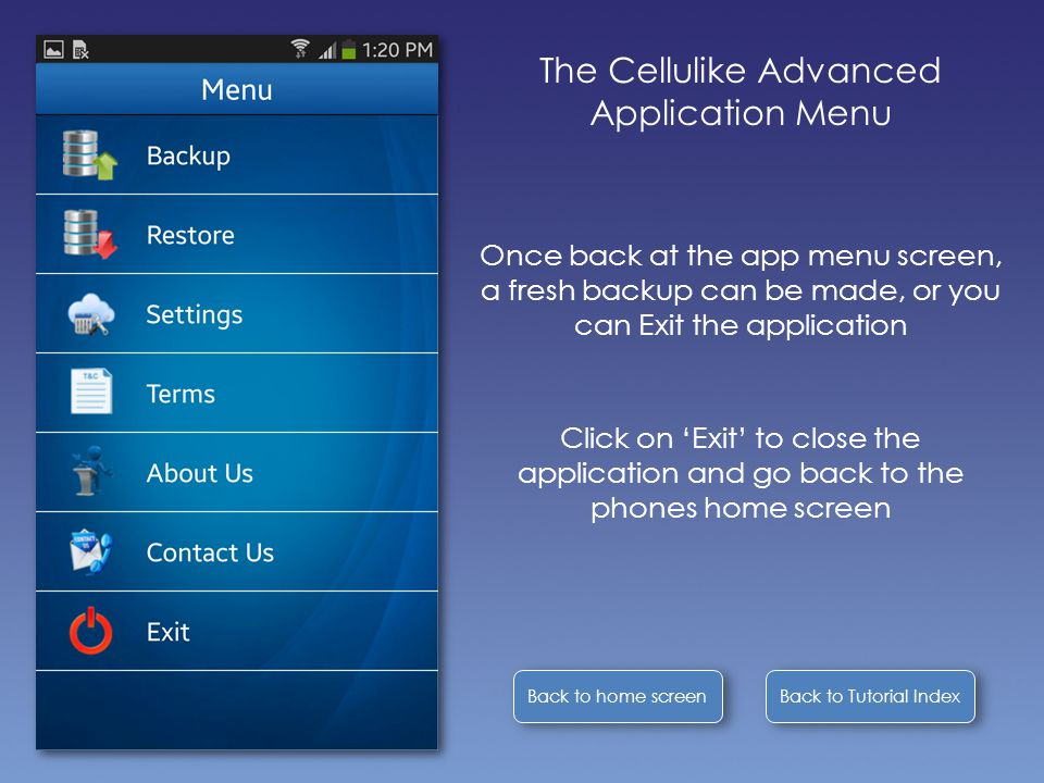 Back to Tutorial Index Back to home screen The Cellulike Advanced Application Menu Once back at the app menu screen, a fresh backup can be made, or you can Exit the application Click on 'Exit' to close the application and go back to the phones home screen
